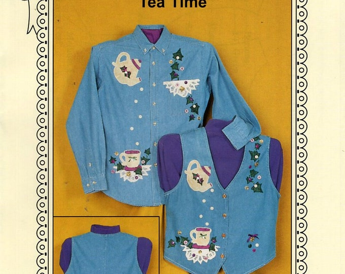 Ozark Crafts DOILY WEAR Tea Time  embellishment Applique 1997 Free Us Ship Out of Print Sewing Pattern Unused