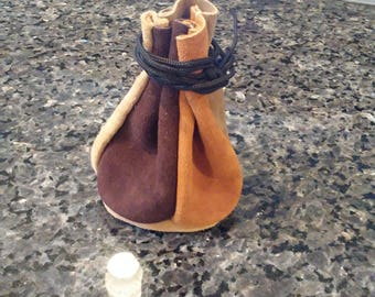 Handmade Drawstring Multicolored Leather Pouch!