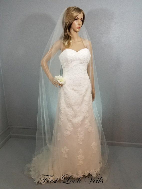 Ivory Wedding Veil, Bridal Cathedral Veil, One Layer Plain Viel, Wedding Vail, Bridal Attire, Wedding Accessories, Long Veil, White Veil
