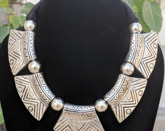 Afghani Jewelery,boho tribal jewelry,tribal necklace,boho gypsy look,alpaca silver, German silver