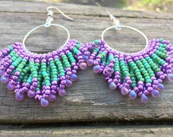 Tribal beaded earrings, Tribal earrings, Beaded earrings, Hoop earrings, Long beaded earrings, Boho earrings, Ethnic earrings, Gift for her