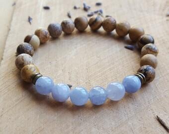 Aquamarine Stone Bracelet Throat Chakra Bracelet 5th Chakra Aquamarine Jewelry Gemstone Bracelet Yoga Bracelet Healing Stone Bracelet