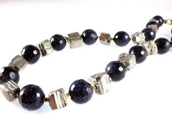 Navy Blue Goldstone Necklace, Midnight Blue Goldstone, Pyrite Necklace, Dark Blue, Navy Blue