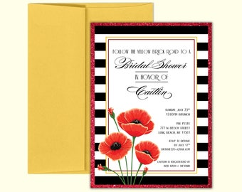 Bridal Shower Invitation - Wizard of Oz - Poppies and Stripes - DEPOSIT