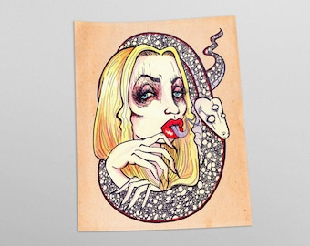 Snake Charmer Occult Tattoo Style Illustration Art Print