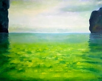 Oil painting Landscape painting Seascape Original Green painting Thailand