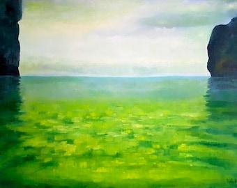 Landscape painting Seascape Original Green painting Thailand