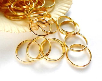 50 Gold Plated Double Loop Split Jump Rings 15mm - 8-18