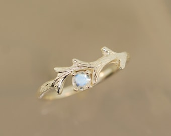 Spiky Moonstone Branch Ring, twig branch ring, alternative engagement ring, moonstone ring, twig ring