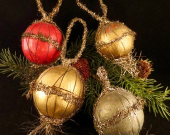 Four Antique Victorian Tinsel Wire-wrapped and Paper Mache Candy Container Ornaments