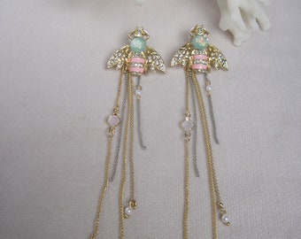 Fantasy Pink & Aqua Bumble Bees with Dangling Chains
