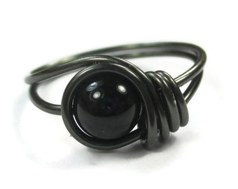 Black Onyx Ring -  Gothic Jewelry -  Custom Size Wire Wrapped Rings