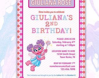 Abby Cadabby Invitation, Sesame Street Invitation, Abby Cadabby Birthday Invitation, Sesame Street Birthday Invitation, DIGITAL FILE