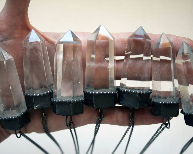 Large Clear Quartz Crystal Tower Necklace // Big Clear Quartz Point Necklace // Quartz Obelisk Necklace