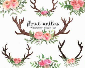 Watercolor antlers - floral antler clipart - watercolor florals - spring clip art - watercolor greenery - instant download - Commercial Use
