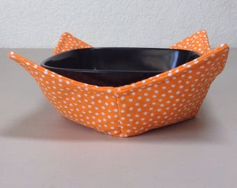Microwave Cozy  - Orange w/White Polk A Dots  (0200-235)