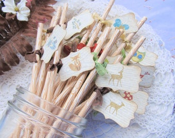 Woodland Animals Forest Straws w/Flags - Wood Grain Straws - Set of 18 - Baby Shower Birthday Rustic Party
