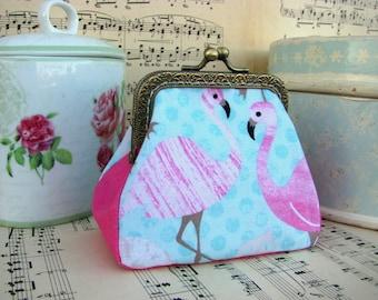 Coin purse clutch with flamingos on blue, kiss lock purse