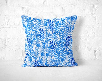 Blue Watercolor Pillow, Watercolor Pillow, Blue Throw Pillow, Blue Cushion, Watercolor Decor, Floral Pillow, Cobalt Throw Pillow, Blue Decor