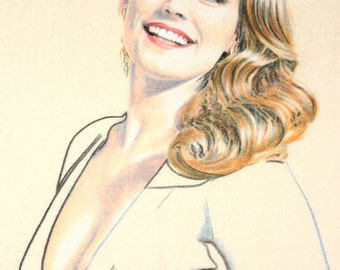 Original, hand drawn portrait of Kelly Brook, in charcoal and pastel on calico