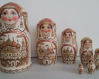Very pretty stamp matryoshka, nesting doll 7 pieces