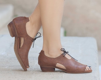 Women Leather Sandals, Heeled Sandals, Camel Leather Sandals, Oxfords, Summer Shoes, Heels,