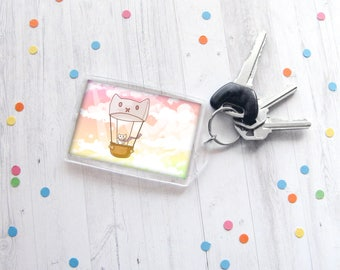 Hot Air Balloon Cat Keychain, White Kitty Keychain, Kitten Drawing, Cat Lover Gift, Funny Keychain, Any Occasion Gift, Travel Gift, Rainbow