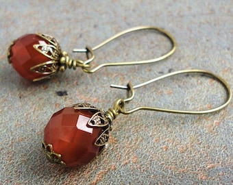 Faceted Carnelian Earrings in Antiqued Brass, Kidney Earwires, Handcrafted Jewelry by Mami's Gem Studio