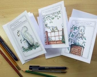 Slim-line Squirrel Birthday Cards, Set 2
