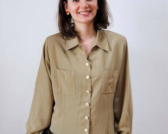 Olive green blouse chic vintage clear