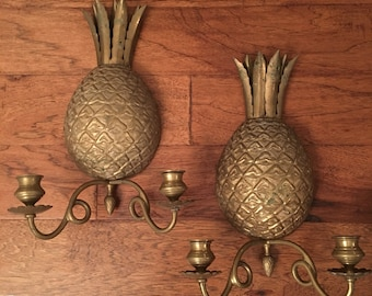 Brass Pineapple Candle Sconces ~ Antique Solid Brass ~ Large Wall Sconce Candle Holders ~ Pineapple Decor