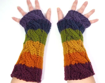 Long Rainbow Fingerless Gloves, Arm Warmers, Cable Knit