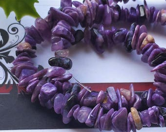 """Natural Charoite Bead Strands, Chips, 4~8 mm, about 15.5"""""""