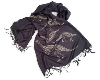 Dinosaur Bones Scarf. Paleontology pashmina. Linen weave pashmina. Choose charcoal grey & more. Science, natural history, archeology gift.
