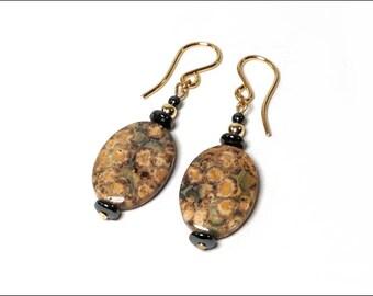 Leopard Skin Jasper Earrings - Flat Oval and Hematite