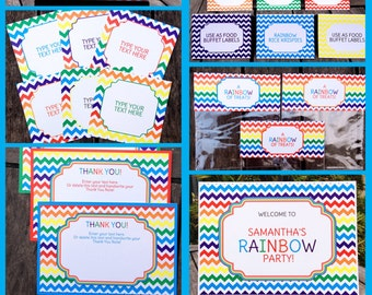 Rainbow Party Invitations & Decorations - full Printable Package - INSTANT DOWNLOAD with EDITABLE text - you personalize at home