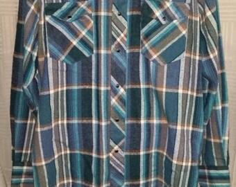 Vintage 80's Wrangler Pearl Snap Western Shirt Men's Large Flannel Plaid Punk Lumberjack Beard Hipster Rockabilly Punk Cowboy