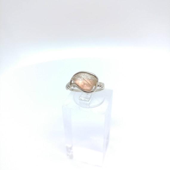 Oregon Sunstone Ring   Raw Crystal Ring   Sterling Silver Ring Sz 5   Schiller Oregon Sunstone Ring   Raw Stone Ring   Rough Oregon Sunstone