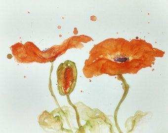 Orange Poppies by CheyAnne Sexton small ORIGINAL watercolor bright  6x8