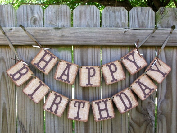 Happy Birthday Burlap Banner Rustic Adult