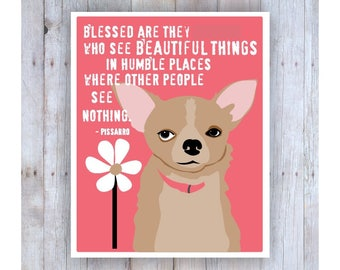 Chihuahua Art, Chihuahua Print, Pink, Girly, Girls Room Decor, Famous Quote, Daisy, Dog Art, Dog Decor, Bedroom Wall Art, Brown and PInk