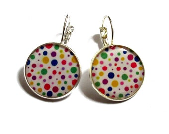 COLORFUL EARRINGS - RAINBOW Polka Dot Earrings - polka dot jewelry - Summer Jewelry - colorful and white Earrings - Retro Earrings