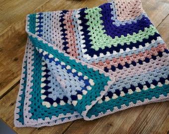 "36"" Granny Squares Crochet Knit Blanket"