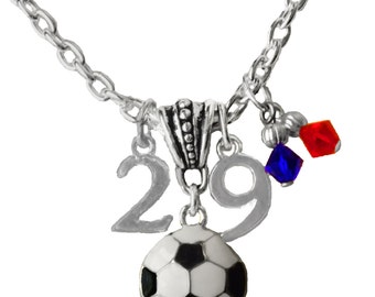 Personalized, Soccer Necklace, Team Color, Swarovski Necklace, Jersey Number,Charm Necklace,Mom Necklace,Soccer Gift,Soccer, (Made to Order)