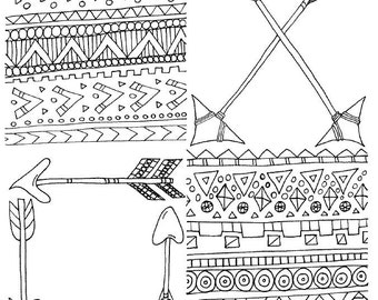 mini coloring pages : tribal