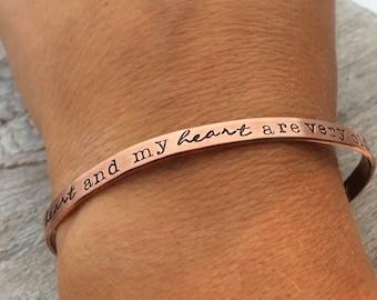 Copper Cuff Bracelet - Old friends Bracelet - Best Friend Jewelry - Inspirational Jewelry - Hand Stamped Bracelet - My Heart and Your Heart