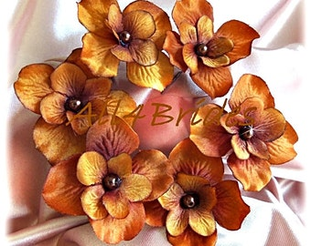 Burnt orange hydrangea hair flowers, bridal or bridesmaids hair accessories set of 6 hair pins.