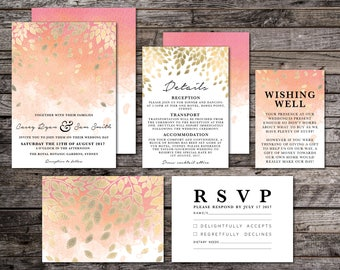 Wedding invitation kits etsy peach gold ombre watercolour watercolor wedding suite wedding invitation pink peach stopboris Image collections