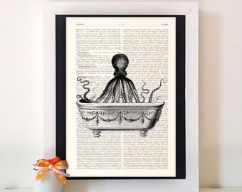 Octopus Bath,dictionary art print, home decor, dictionary art quote, wall decor, old dictionary print, old dictionary decor N36