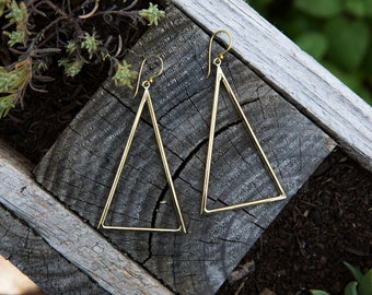 Dandle Triangular Earrings, Brass Earrings, Geometric Earrings, Minimalist Jewelry, Tribal Jewelry